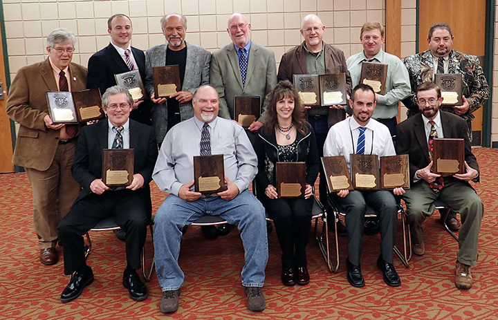 First-place winners for this year's Excellence in Craft Awards were: Front (l-r): Tom Tatum, Terry Brady, Jennifer Bilott, Tyler Frantz and Wade Robertson; Back: Charlie Burchfield, Marshall Nych, Ben Moyer, Terry Brady, Steve Sorensen, Ralph Scherder and Ralph Martone. Not pictured: Bud Cole, Bob D'Angelo, Timothy Flanigan, Bob Frye, Ron Steffe, Karen Wolfe and Alex Zidock.